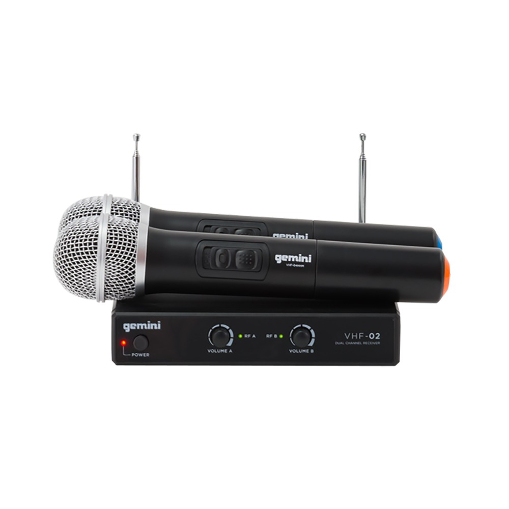 Gemini VHF-02M Wireless Dual Channel VHF Handheld Microphone System