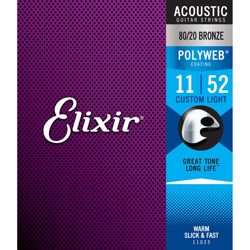 Elixir 11025 Polyweb 80/20 Bronze Custom Light Acoustic Guitar Strings (11-52)