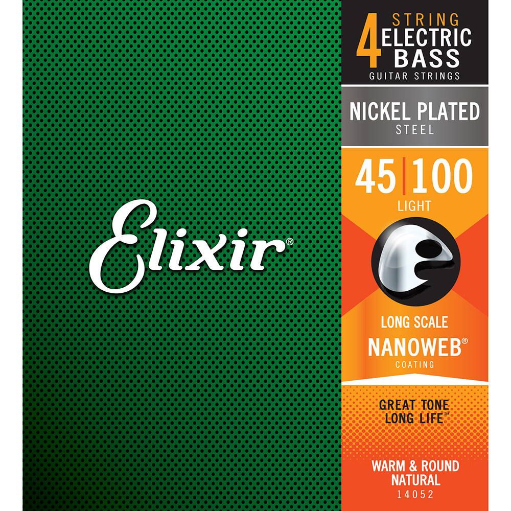 Elixir 14052 NANOWEB 4-String Light/Long Scale Electric Bass Strings (45-100)