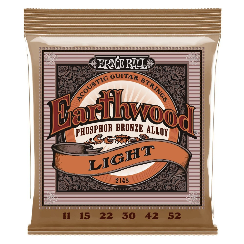 6-Pack Ernie Ball 2148 Earthwood Phosphor Bronze Alloy Light Acoustic Guitar Strings (11-52)