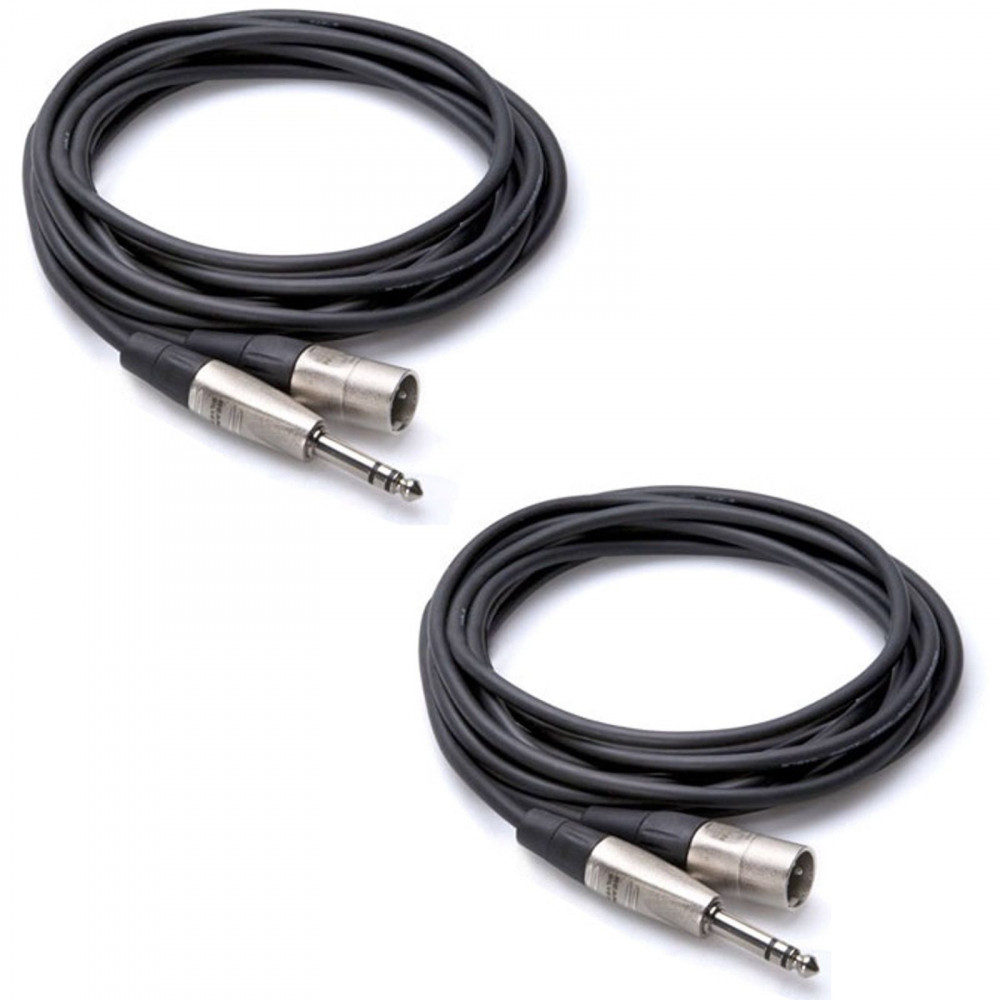 "2 Packs Hosa HSX-003 Pro Balanced Interconnect 1/4"" TRS to XLR3M Male 3ft Cable"
