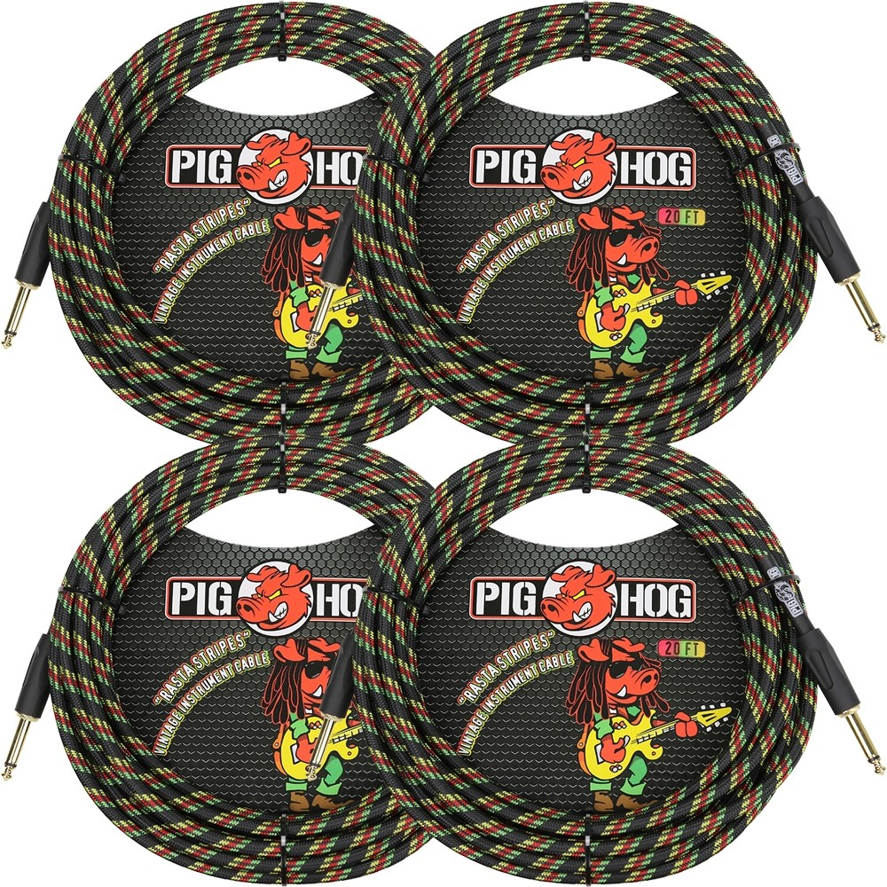 "(4-Pack) Pig Hog PCH20RA Vintage Series Instrument Cables, 1/4"" TS to Same, Rasta Stripes - 20 ft"